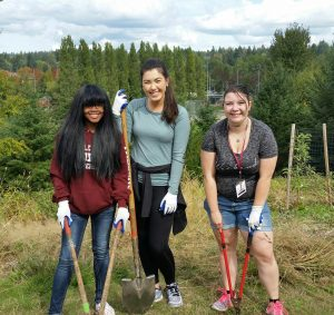 Student volunteers take a break from evil blackberries