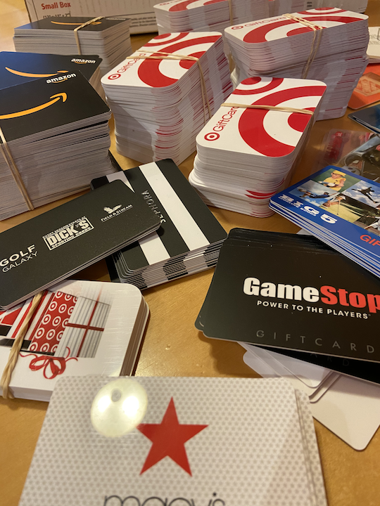 Stacks of gift cards